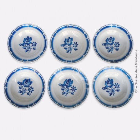 6 assiettes creuses badonviller 86, motif fleurs bleues (pivoines). French Antique