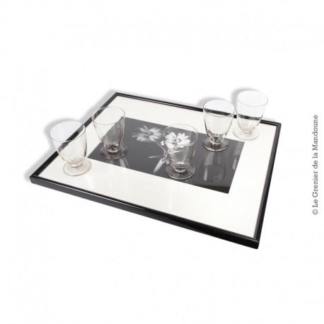 5 verres à vin en verre soufflé moulé, début 20ème siècle