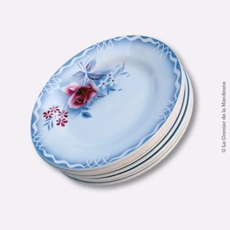 8 assiettes plates Digoin Sarreguemines Modèle LOT 1922 - 1965