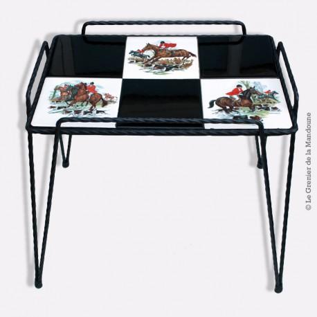 Table basse vintage fer forgé vintage / GIEN carreaux faïence Chasse à courre
