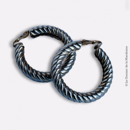 Vintage boucles d'oreilles clip créole métal torsadé