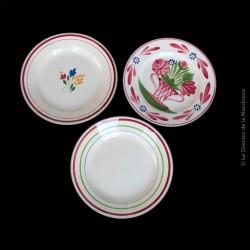 Lot de 3 assiettes anciennes, Gien jeannette,  Gien Gilles & Sarreguemines