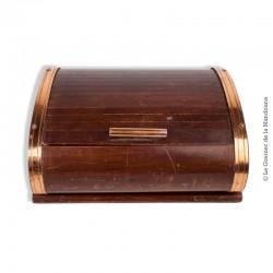 Ancienne boîte à cigarettes, cigarillos en bois d'érable et métal cuivré, ouverture coulissante avec coupelles, art déco