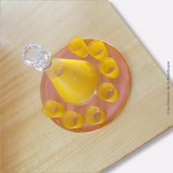 Service à liqueur carafe et verres vintage jaune des années 60 avec plateau