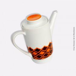 Cafetière vintage MELITTA, porcelaine. Motif : orange et chocolat. Germany