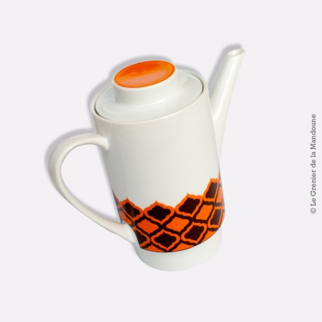 Cafetière vintage MELITTA, porcelaine. Motif : orange et chocolat. Germany