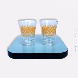 2 verres vintage CARDON, motif jaune