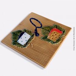 """Plateau à fromage décor """"fromage sur feuille"""" céramique Vallauris - FPP"""