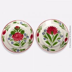 2 Assiettes Sarreguemines U et Cie autour 1844-1850 - Décor fleuri