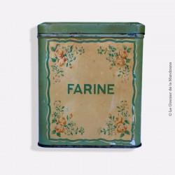 """Ancienne boîte en tôle inscription farine """"Meunier"""". French Antique"""