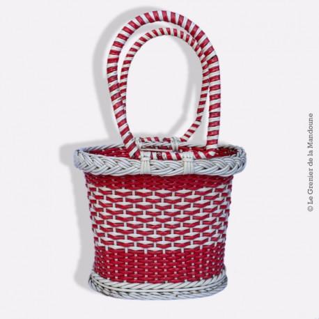Petit sac Scoubidou Vintage 1960 Bag Panier osier design 60's