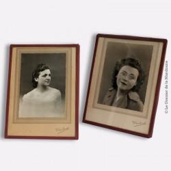 2 Cadres photo des années 40/50 avec photo argentique signé Jaubert