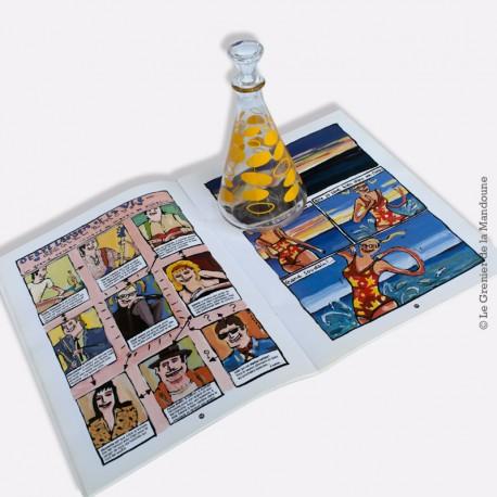 Carafe à liqueur, années 70, motif bulles jaune
