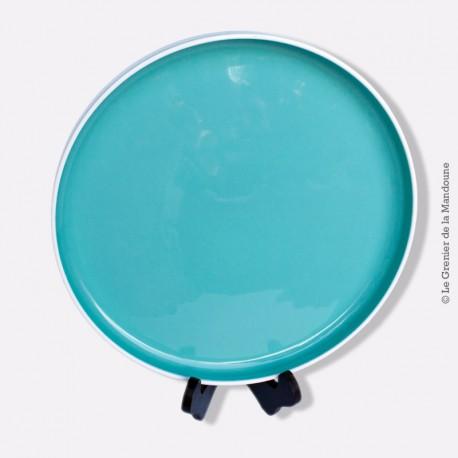Grand plat à  tarte / fromage rond en faïence Salins