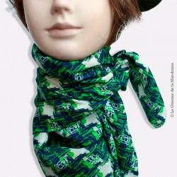 Foulard vintage motifs géométriques bleu et vert