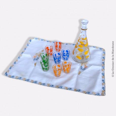 8 verres à liqueur avec carafe, années 70, motifs bulles, bleu, vert, orange et jaune