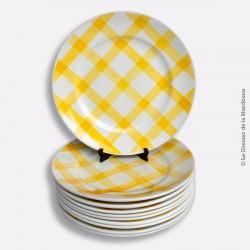 10 assiettes à dessert MOULIN DES LOUPS, ORCHIES décor NAPPE, Jaune
