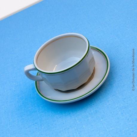 Tasse à thé bistrot blanche liseré vert et or, porcelaine de CHAUVIGNY