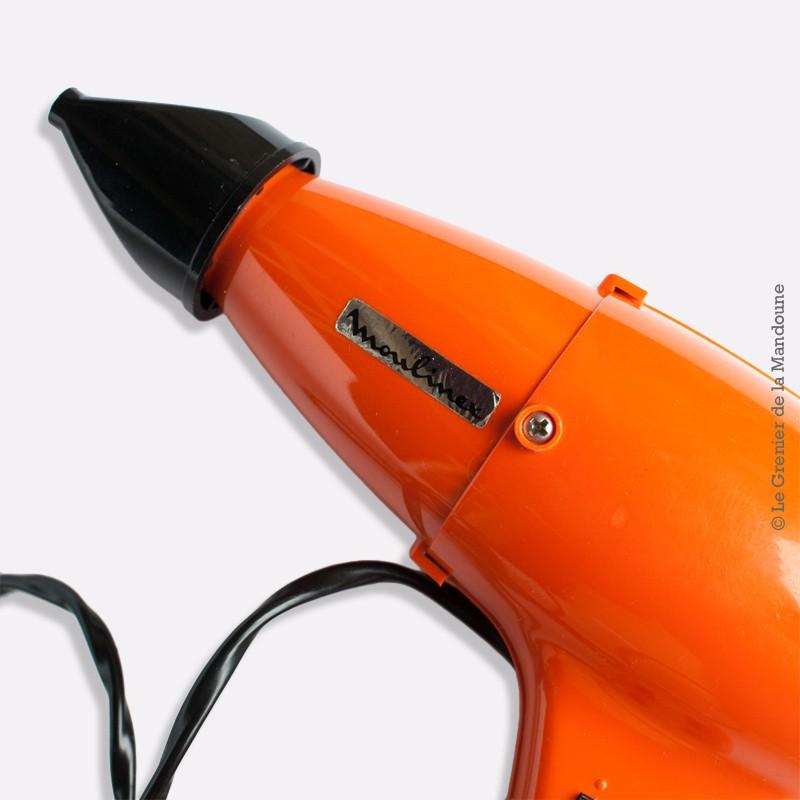 Sèche cheveux vintage MOULINEX 70's Orange. TYPE 162