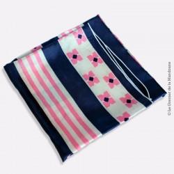 Foulard vintage nylon motifs géométriques rose, bleu et blanc