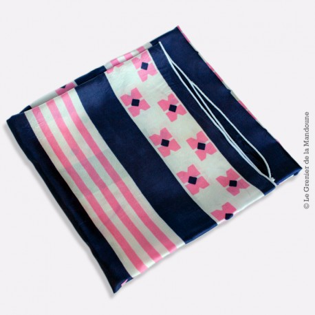 Foulard vintage motif géométrique rose, bleu et blanc