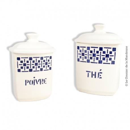 2 Pots à épices (Poivre et Thé)  faïencerie Nouvelle Givors France. French Vintage