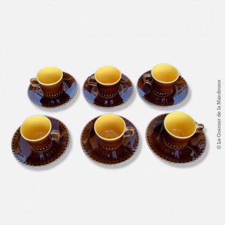 6 Tasses avec Soucoupes Sarreguemines - Digoin 1875 - 1900
