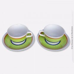 2 déjeuners tasses et soucoupes en faïence Digoin France