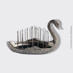 Porte toast ancien et son plateau cygne, métal argenté