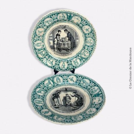 """Paire d'Assiettes parlantes faïence de Bordeaux, Jules Vieillard """"LE ZODIAQUE POUR RIRE"""" 1829 - 1895"""