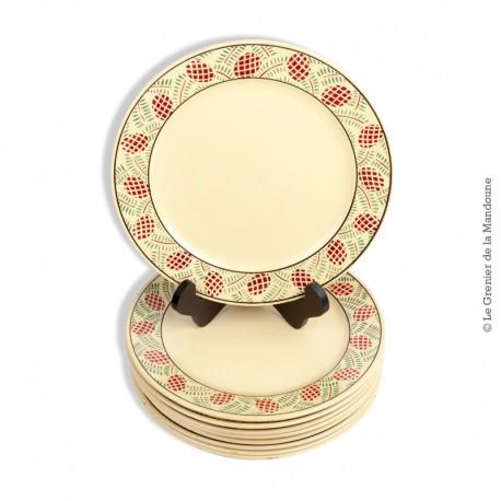 Lot de 9 assiettes Sarreguemines France, modèle ROTHONDES