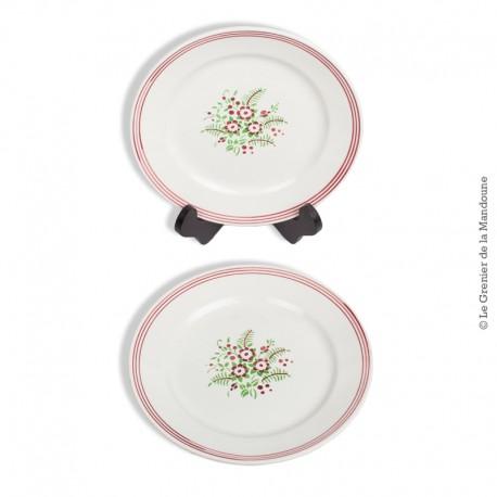 Le Grenier de la Mandoune. 2 assiettes k&G Porcelaine Opaque LUNÉVILLE France, modèle SOLOGNE