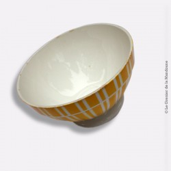 Old Bowl. Ancien bol DIGOIN Décor rayures jaunes blanches