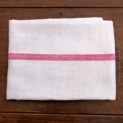 Nappe ancienne coton / lin épais à liteaux rouge