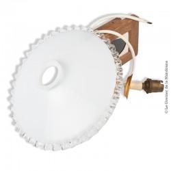 Ancien Abat-jour Opaline blanche dentelée transparente avec douille en laiton à baïonnette