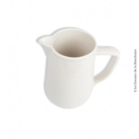 Le Grenier de la Mandoune. Ancien pichet à eau ou vin en faïence blanc cassé. 4/100cl. French Antique