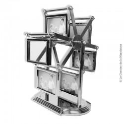 Le Grenier de la Mandoune. Cadres porte photos en métal argenté présentoir tourniquet 12 photos dans 6 cadres - Années 1970