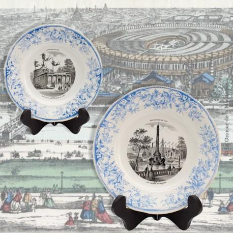Le Grenier de la Mandoune. Paire d'Assiettes « Exposition de 1867 » Creil et Montereau, N° 9  & N° 3  L.M. et Cie Déposé