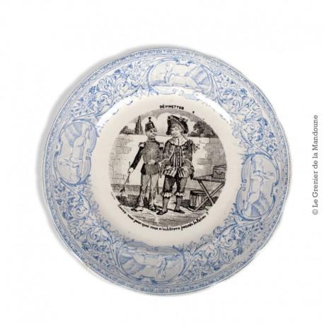 Le Grenier de la Mandoune. Assiette parlante Digoin & Sarreguemines France : Devinettes 4 - n° 6 bis. French Antique