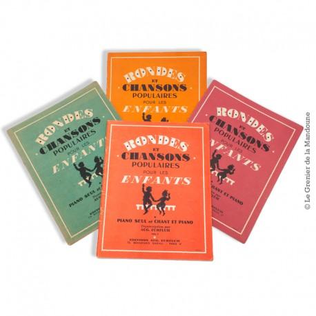 Le Grenier de la Mandoune. 4 Volumes de Rondes et Chansons Populaires pour les Enfants, Piano seul et chant / Piano. 1940 - 1950