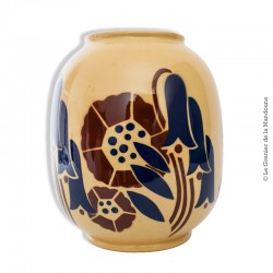 """Le Grenier de la Mandoune. Vase Art déco Lunéville """"Galeries Lafayette"""". Forme arrondie en céramique à décor floral polychrome"""