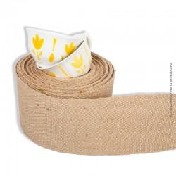 Le Grenier de la Mandoune. 2 Tasses Sarreguemines, décor fleurs, tulipes stylisées jaunes. French Vintage