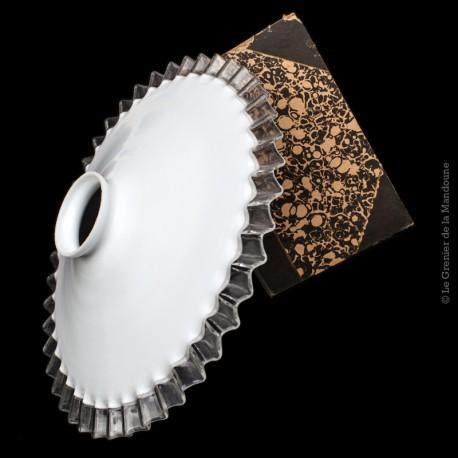Abat-jour  ancien Opaline blanche dentelée transparente