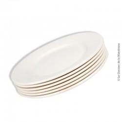 Le Grenier de la Mandoune. 6 assiettes plates blanches Digoin Sarreguemines, 1920 - 1950