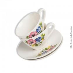 Le Grenier de la Mandoune. Tasses avec soucoupes Luneville KG Tradition, décor à fleurs. French Antique