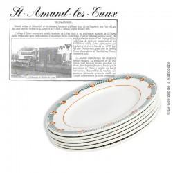 Lot de 6 d'assiettes plates, St Amand, modèle Parame. French Antique