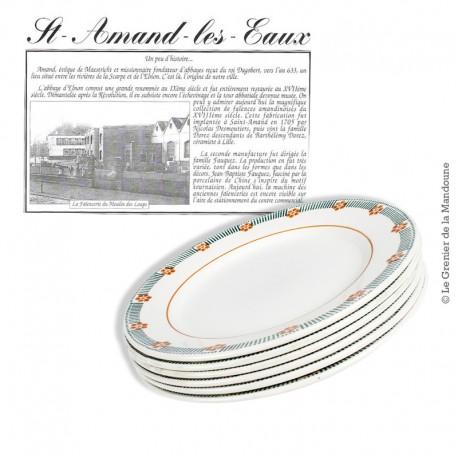 Le Grenier de la Mandoune. Lot de 6 d'assiettes plates, St Amand, modèle Parame. French Antique