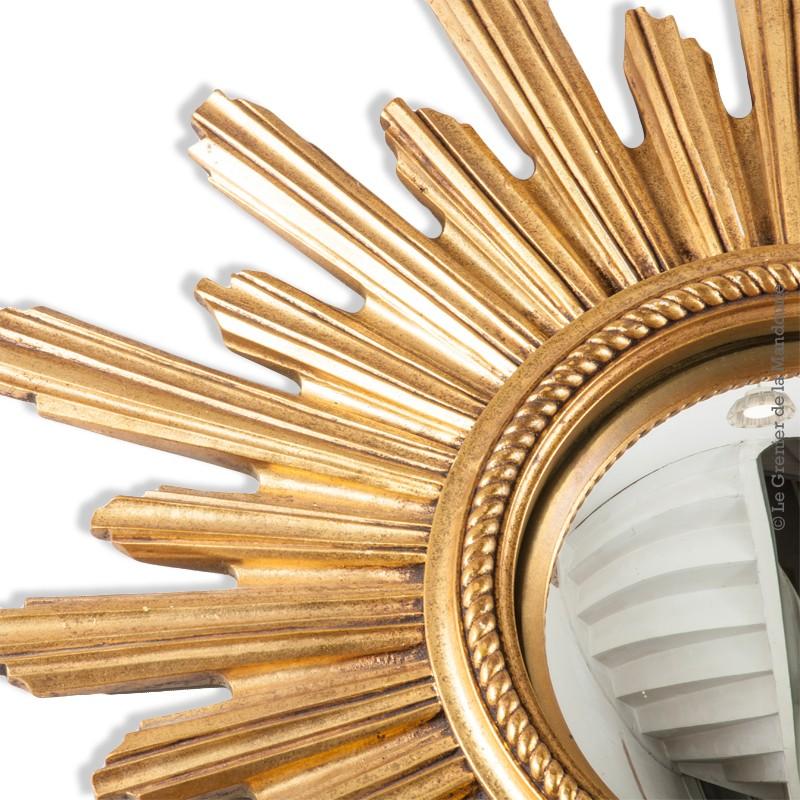 miroir soleil dor oeil de sorci re convexe ann es 60 70 vintage. Black Bedroom Furniture Sets. Home Design Ideas