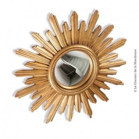 Le Grenier de la Mandoune. Miroir soleil doré de sorcière convexe années 60-70 vintage