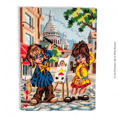 Le Grenier de la Mandoune. Poulbot canevas, tapisserie. Peintre et son Modèle à Montmartre, Paris. French Vintage 1970